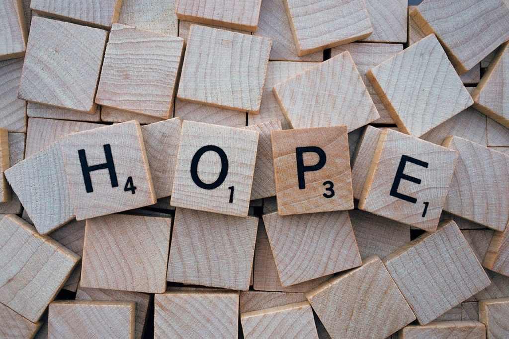 hope, word, letters