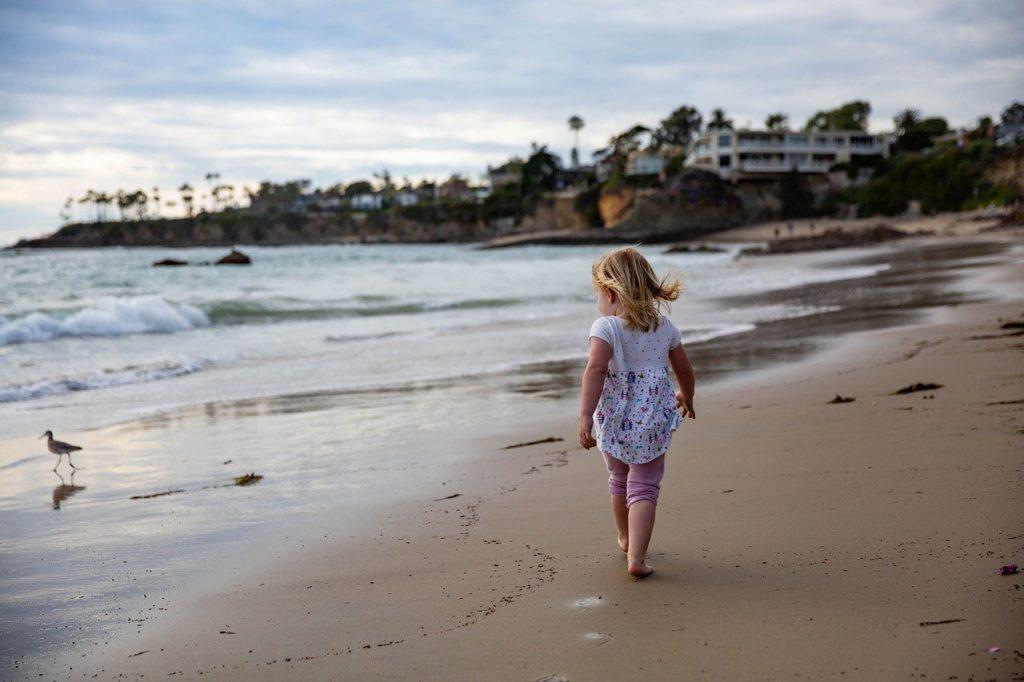 child, girl, sand
