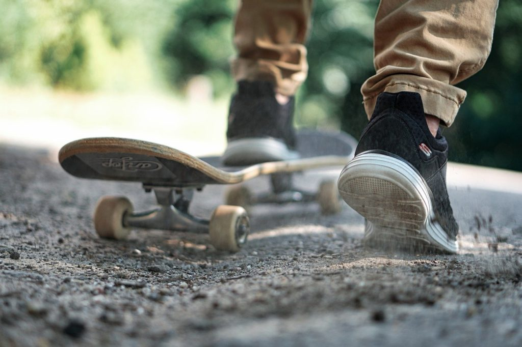 skateboard, shoes, active