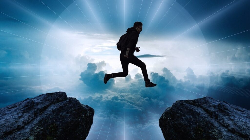 clouds, cliff, jump