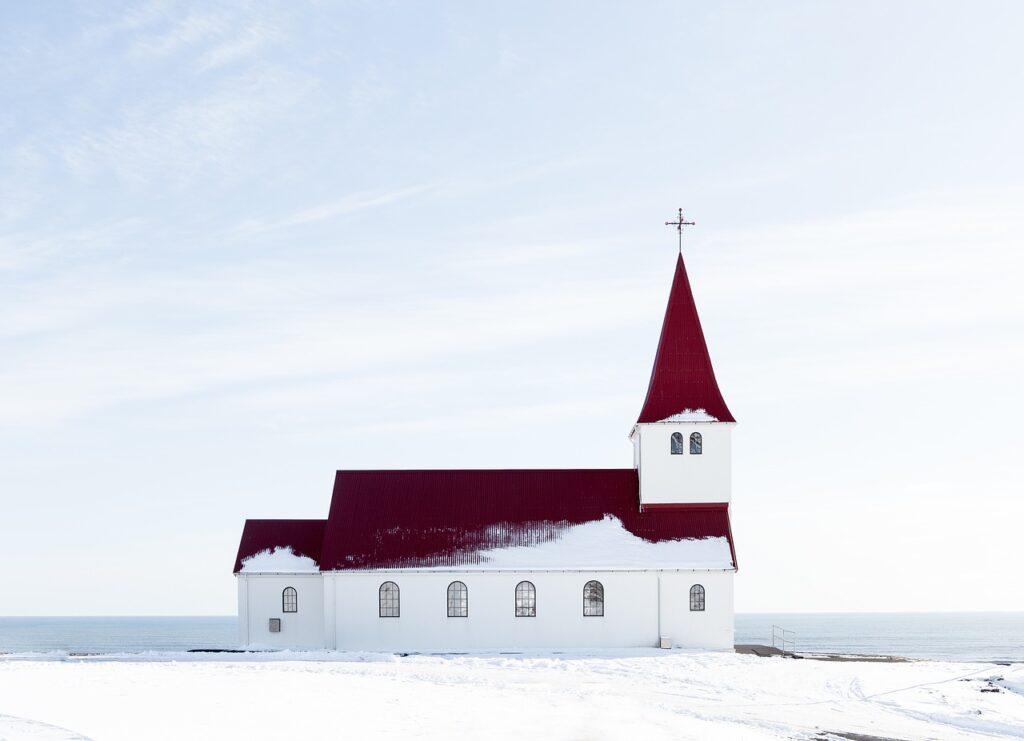 church, snow, facade